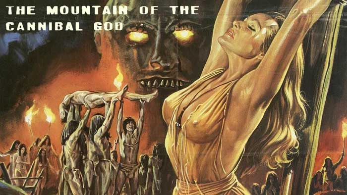 Ursula Andress på postern till Mountain of the Cannibal God