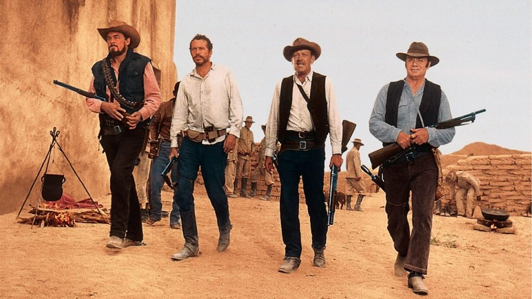 William Holden, Ernest Borgnine, Ben Johnson, och Warren Oates i Det vilda gänget.