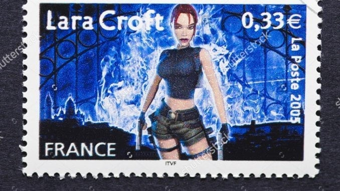 stock-photo-france-circa-a-postage-stamp-printed-in-france-showing-an-image-of-lara-croft-a-character-118610197