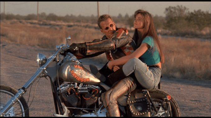 Mickey Rourke on a Harley Davidson