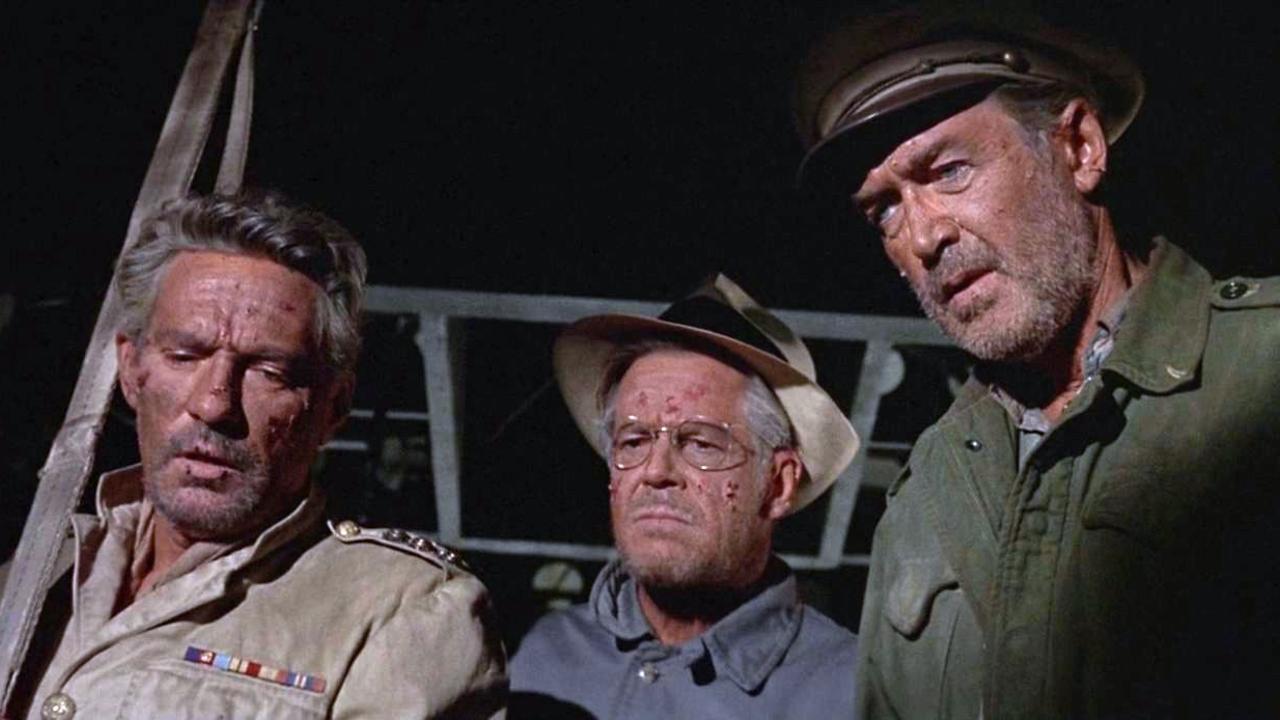 Peter Finch, Dan Duryea och James Stewart i The Flight of the Phoenix (1965)