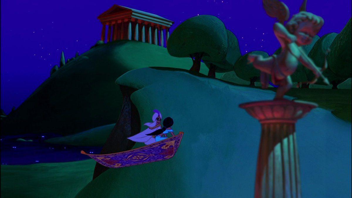 Aladdin och Jasmin flyger förbi Zeus tempel på sin flygande matta. Disneys bästa filmer.