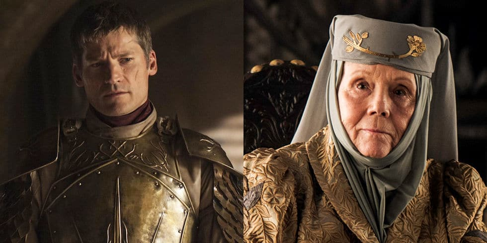 Nikolaj Coster-Waldau och Diana Rigg i Game of Thrones