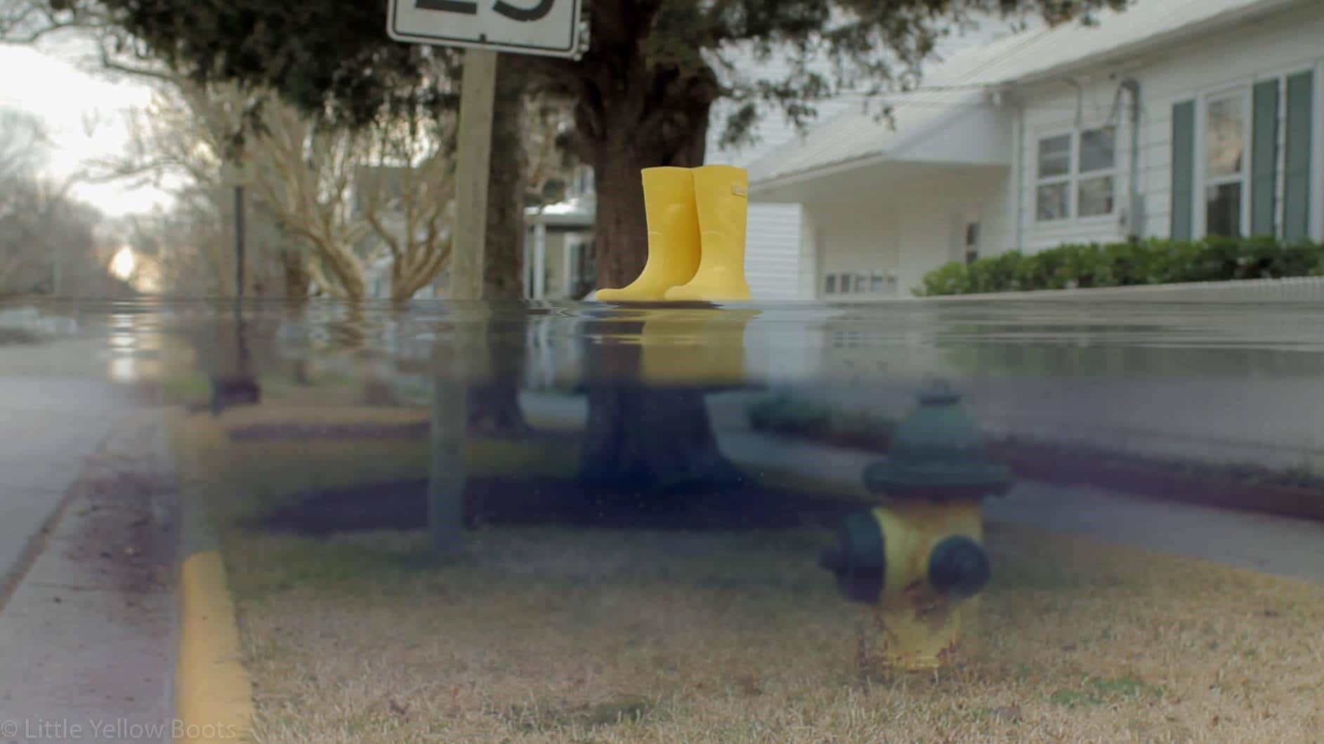 Ett par gula stövlar svävar ovanpå en vattenyta framför ett hus i USA.