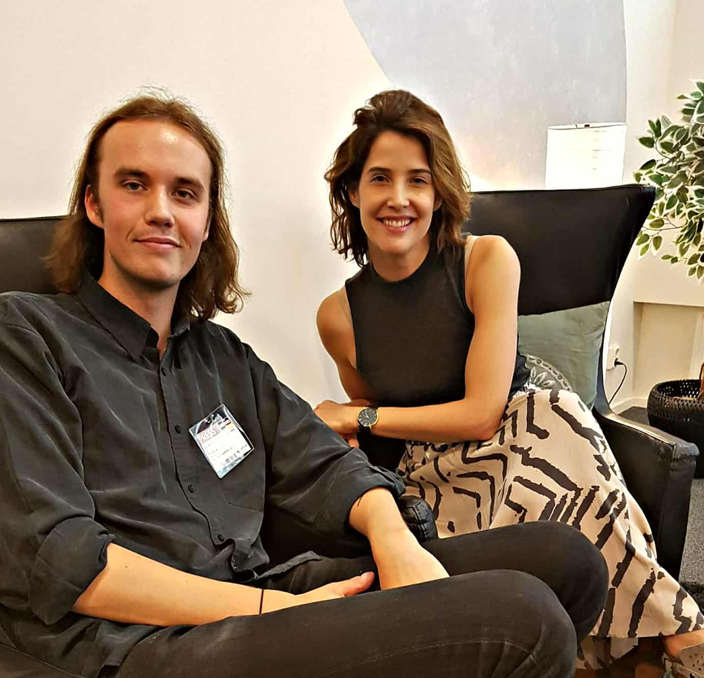 Filmtopps redaktionschef Axel Diedrichs och skådespelerskan Cobie Smulders