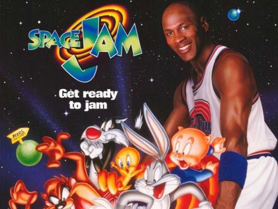 Framsidan till Space Jam. Looney Toons och Michael Jackson