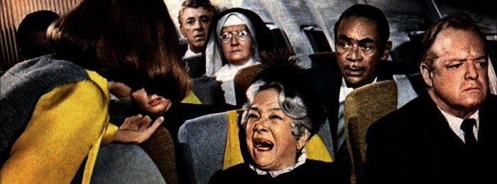 Ett gäng skrikande passagerare på ett flygplan
