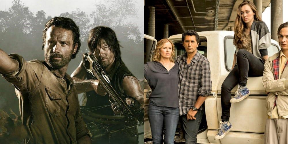 Två bilder sida vid sida från tv-serierna The Walking Dead och Fear the Walking Dead