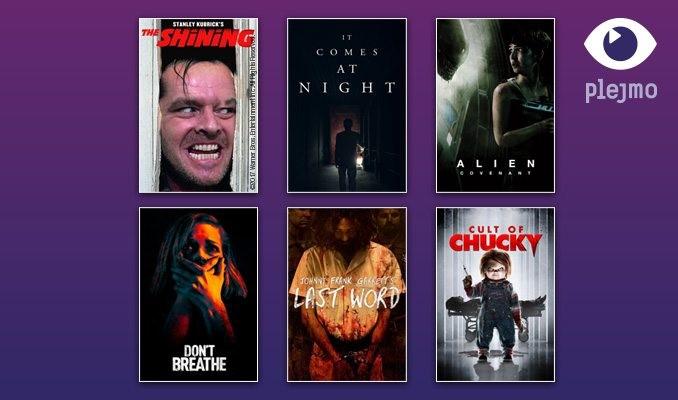 Omslag på skräckfilmer som nu finns på Plejmo