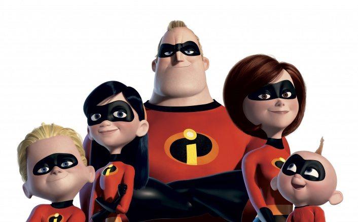 """Familjen Incredible i """"Superhjältarna"""" från Disney Pixar."""