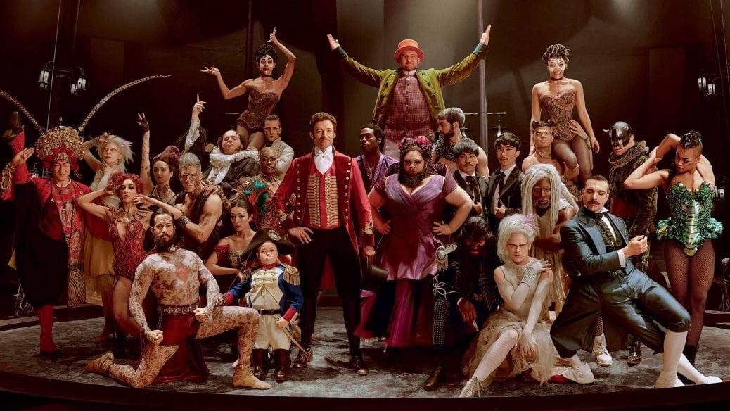 Hela rollbesättningen inklusive Hugh Jackman i The Greatest Showman