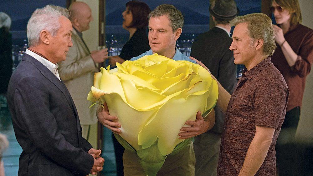 Udo Kier, Matt Damon och Christoph Waltz i Downsizing (2017).