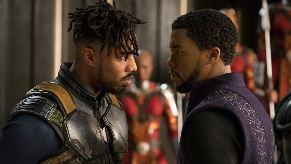 "Michael B. Jordan och Chadwick Boseman i Ryan Cooglers ""Black Panther"""