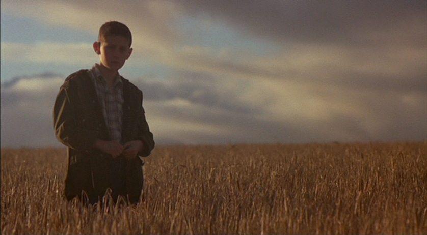 En pojke står på ett fält.
