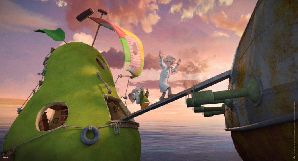 Från den animerade barnfilmen Den otroliga historien om det jättestora päronet. Ett stort flytande päron ligger bredvid ett piratskepp med en landgång emellan.