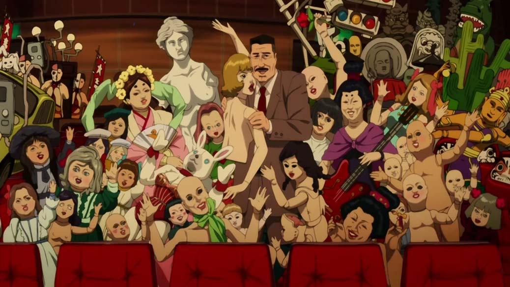 En massa animerade karaktärer i en biosalong.