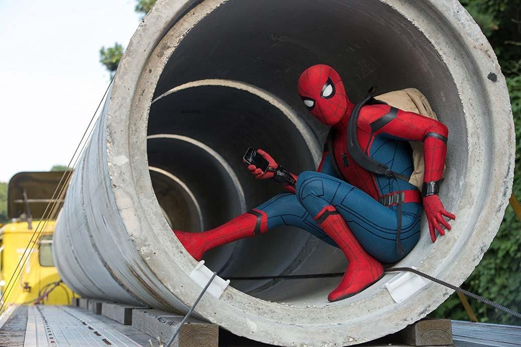 Spindelmannen i Marvelfilmen Spider-Man: Homecoming.