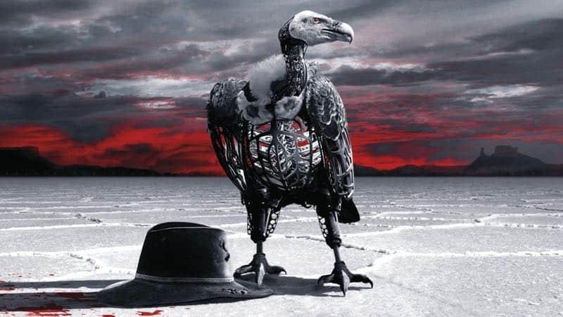 Gam och svart hatt mot öde fält, affisch till Westworld säsong 2