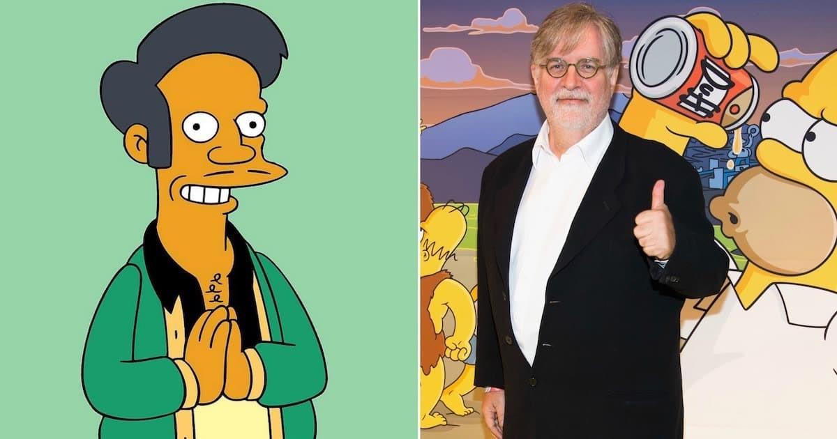 Karaktären Apu och Simpsons-skaparen Matt Groening.