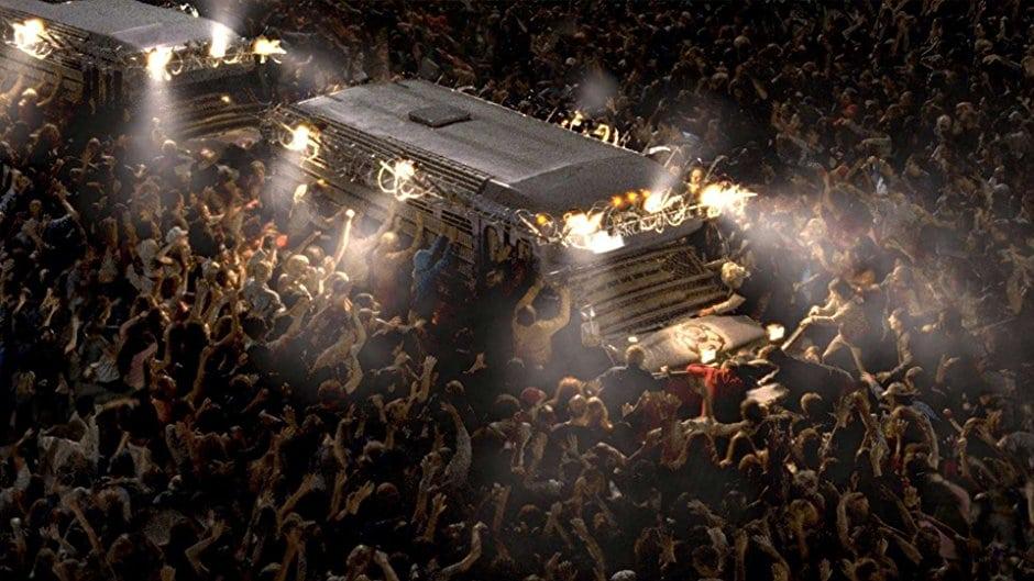 En hord av zombier attackerar en buss.