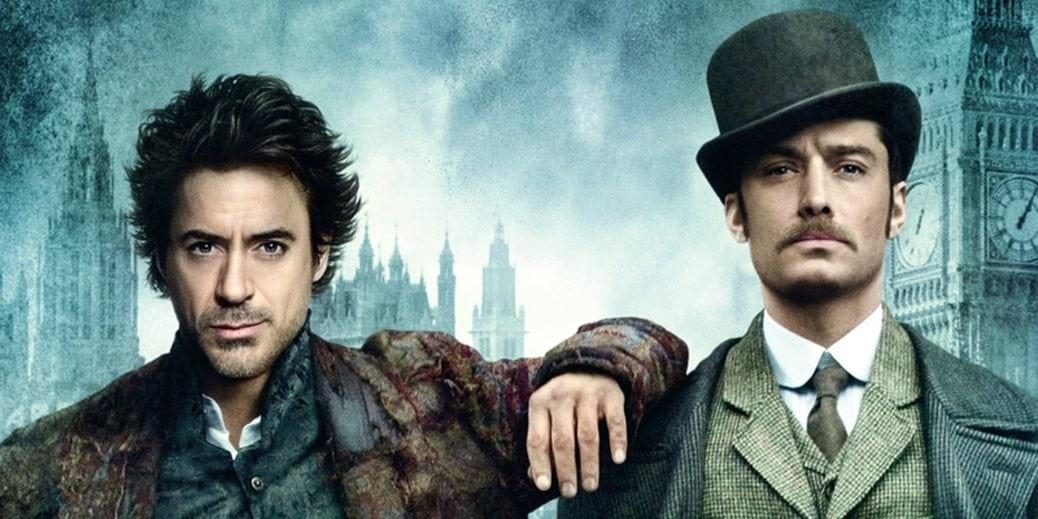 På bilden ser vi skådespelarna Jude Law och Robert Downey Jr