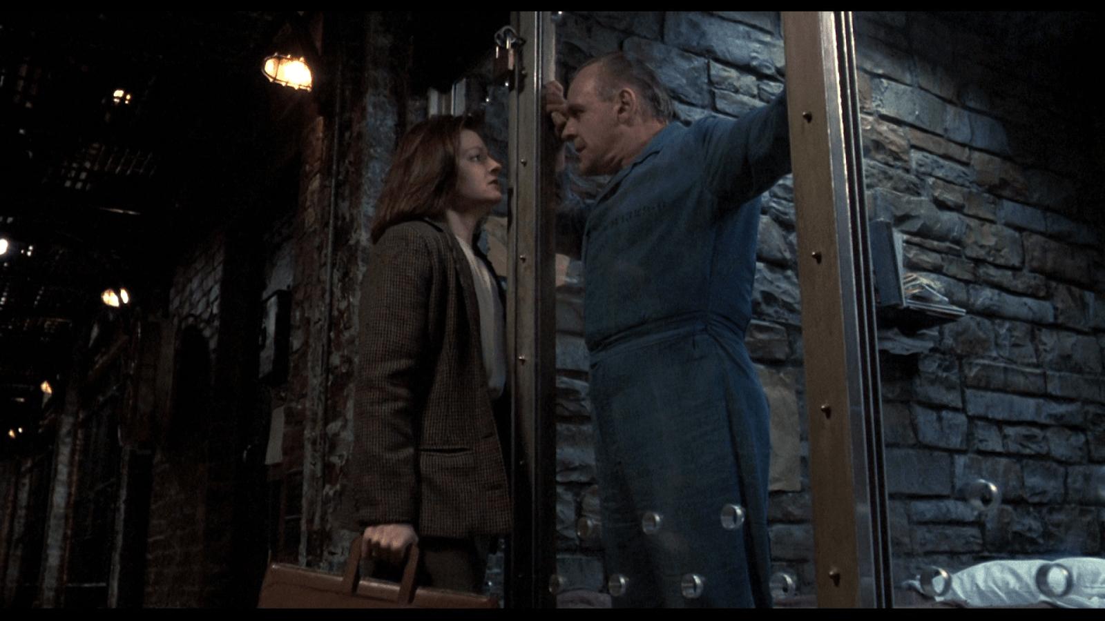 Jodie Foster och Anthony Hopkins i När lammen tystnar