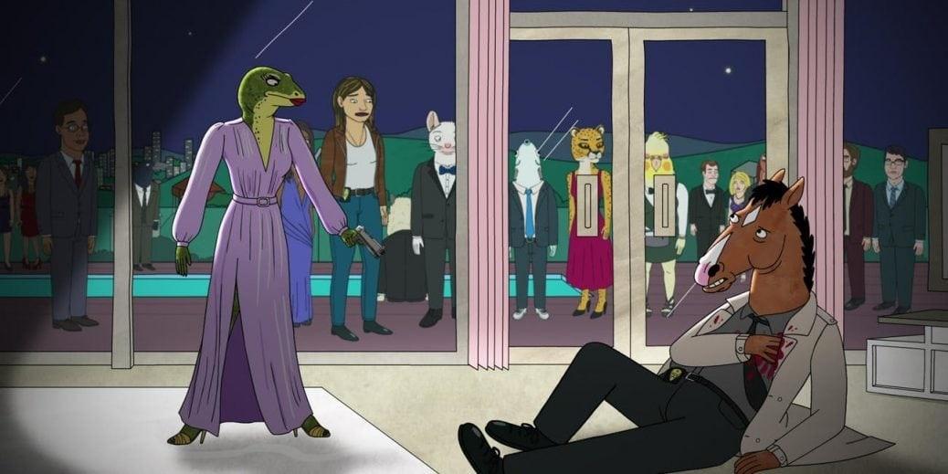 BoJack ligger skjuten på marken. Han kollar mot kvinnan som precis har skjutit honom. Bilden är tagen ur BoJack Horseman säsong 5.