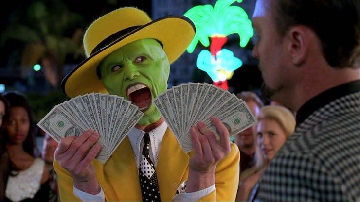Jim Carrey som masken med mycket pengar i händerna