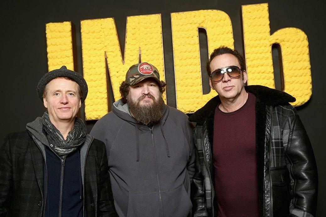 Linus Roache, Panos Cosmatos och Nicolas Cage. Foto: IMDb.