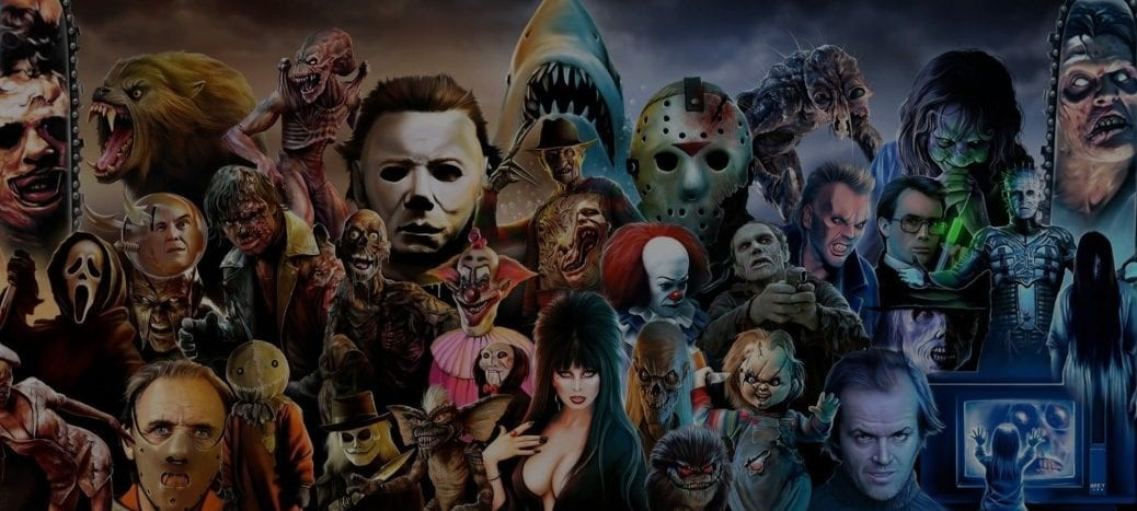 På bilden ser vi flera skräckfilms karaktärer