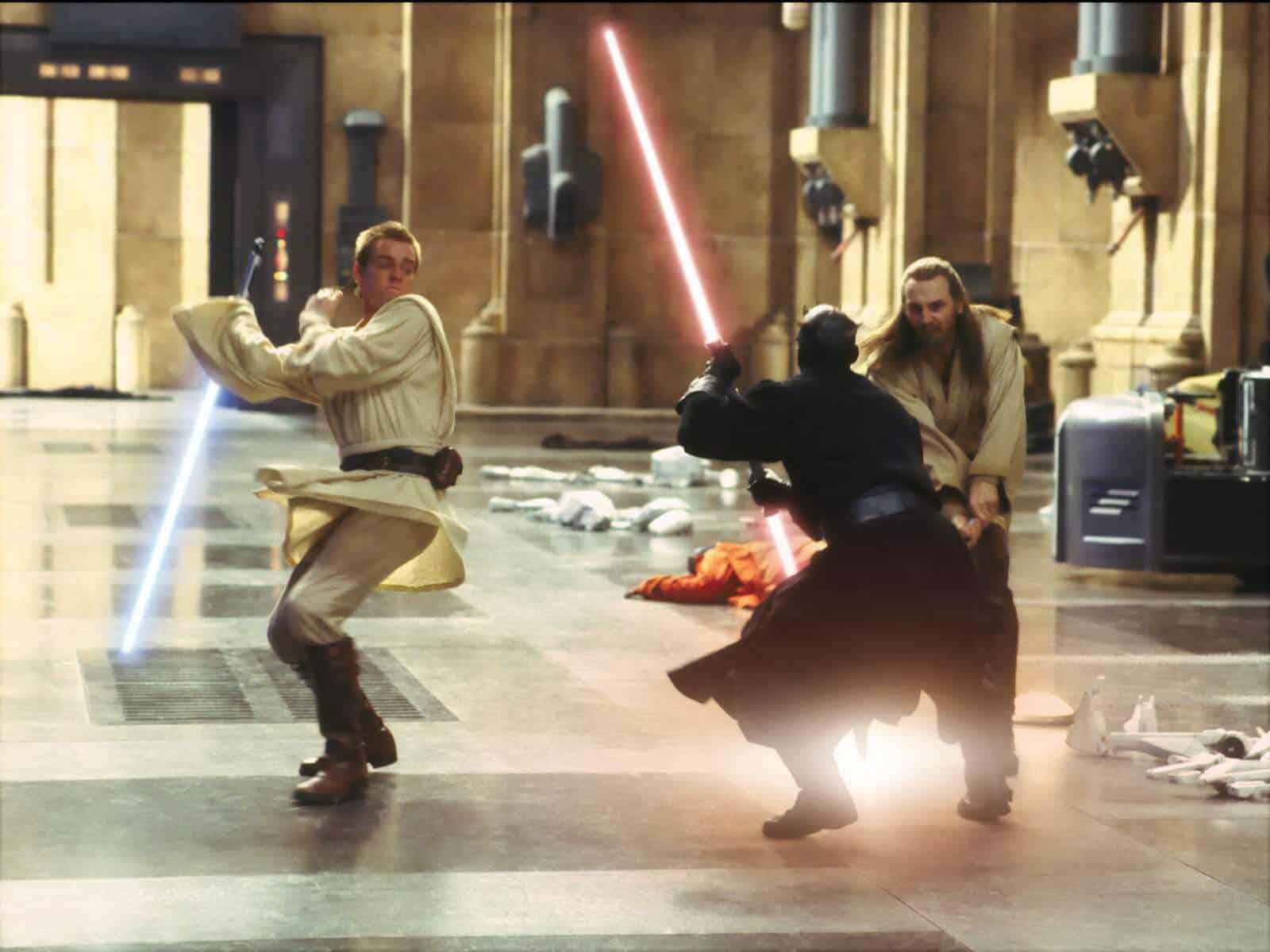 Darth Maul, Obi-Wan Kenobi och Qui-Gon Jinn i Det mörka hotet.