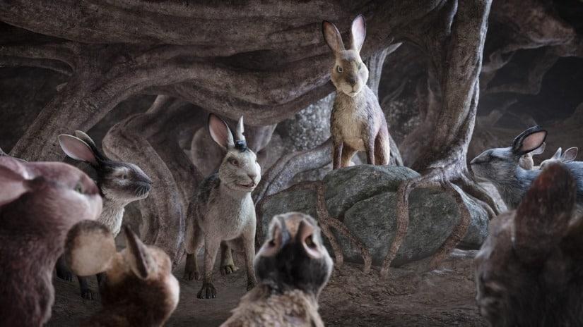 Kaniner håller krigsråd i Den långa flykten.