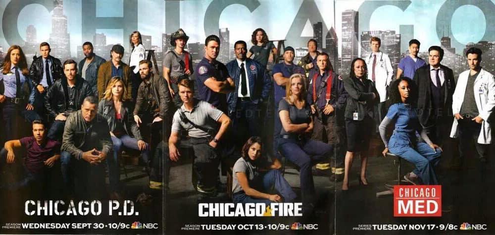 Affisch med rolluppsättningarna från Chicago Fire, PD och Med.