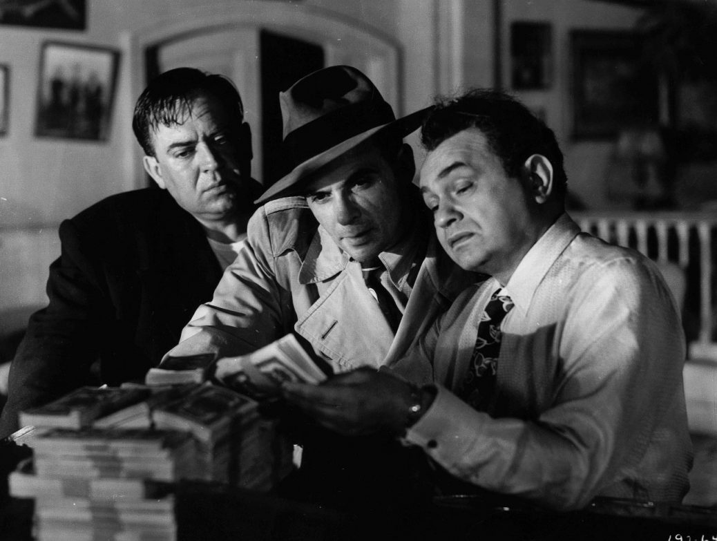 "Edward G. Robinson, Thomas Gomez, och Marc Lawrence i ""Key Largo""."