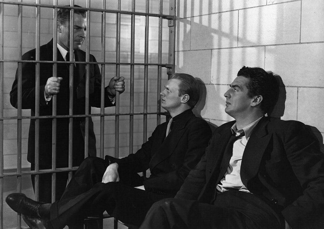 "Victor Mature, Richard Widmark, och Brian Donlevy i ""Kiss of Death""."