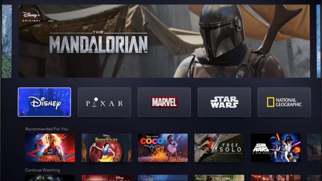Här på bilden ser du hur Disney+ kommer att se ut