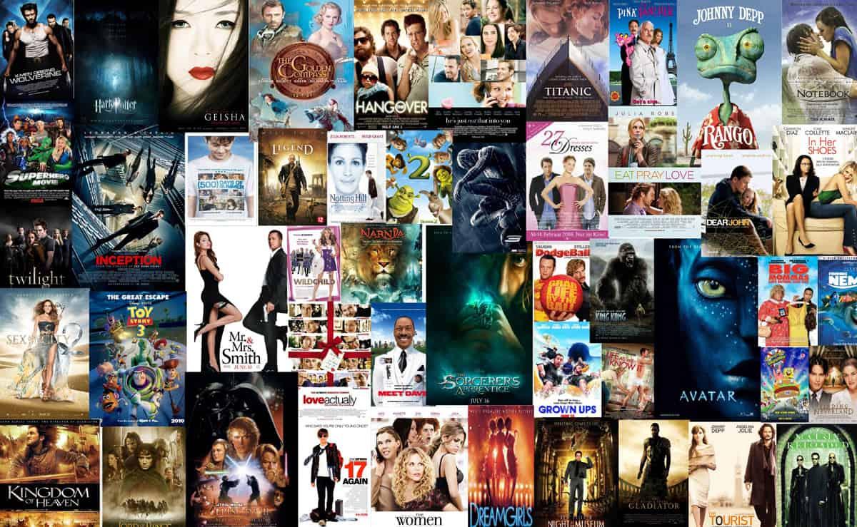 Ett kollage av filmer.