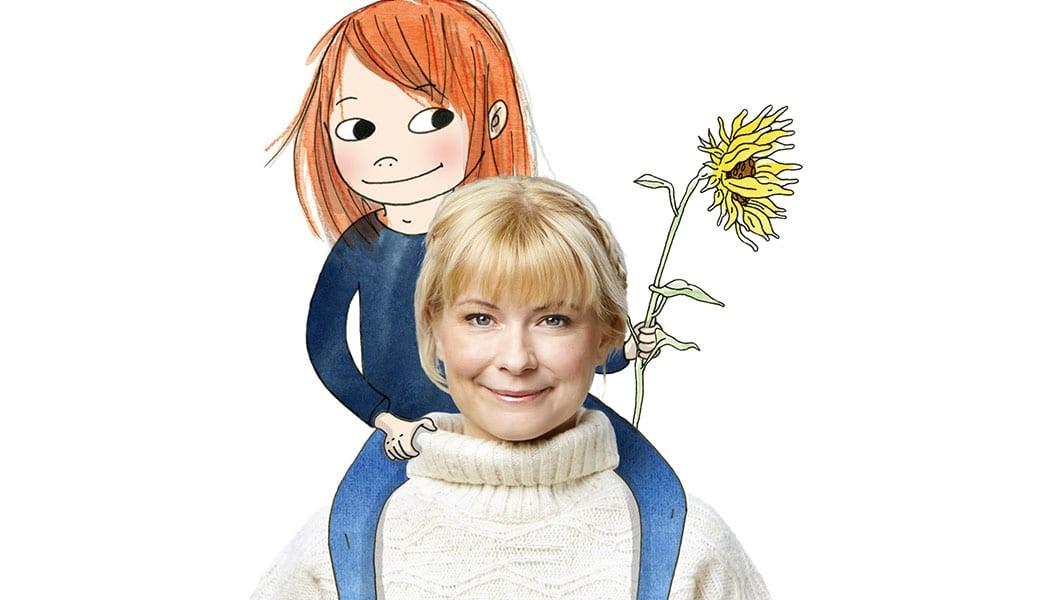 """Josefin Sundström och Saga från """"Sagasagor"""". Foto: Caroline Andersson/NENT. Illustration: Emma Göthner"""