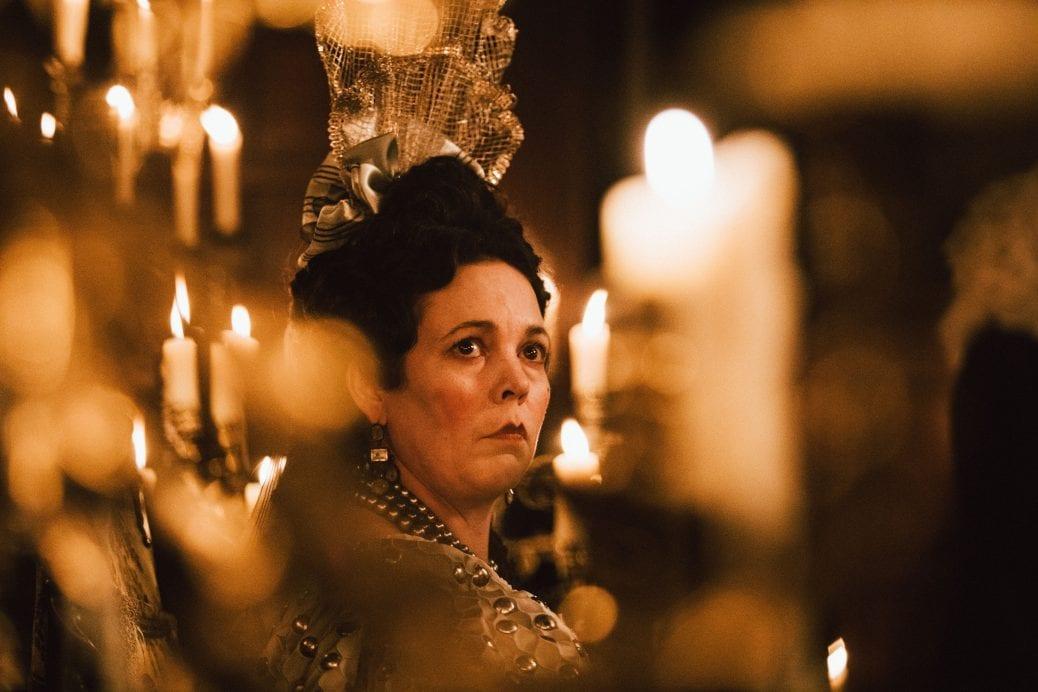 Olivia Colman som Drottning Anne i The Favourite.