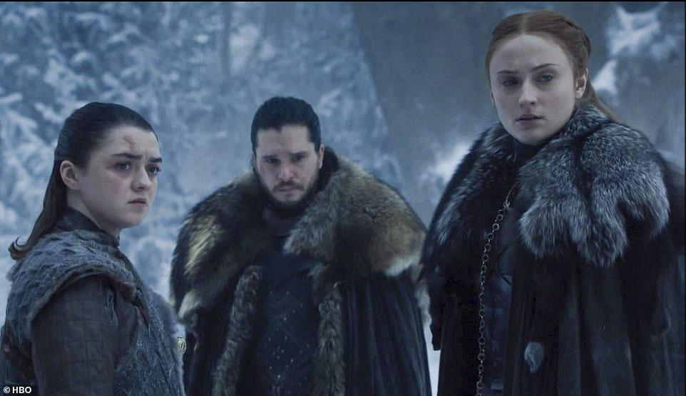 Jon Snow och Sansa och Arya Stark.