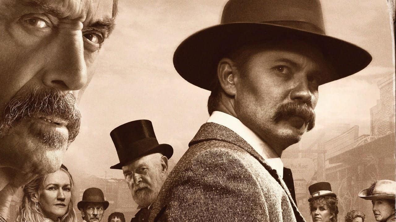 Al Swearengen och Seth Bullock på affisch för Deadwood - The Movie