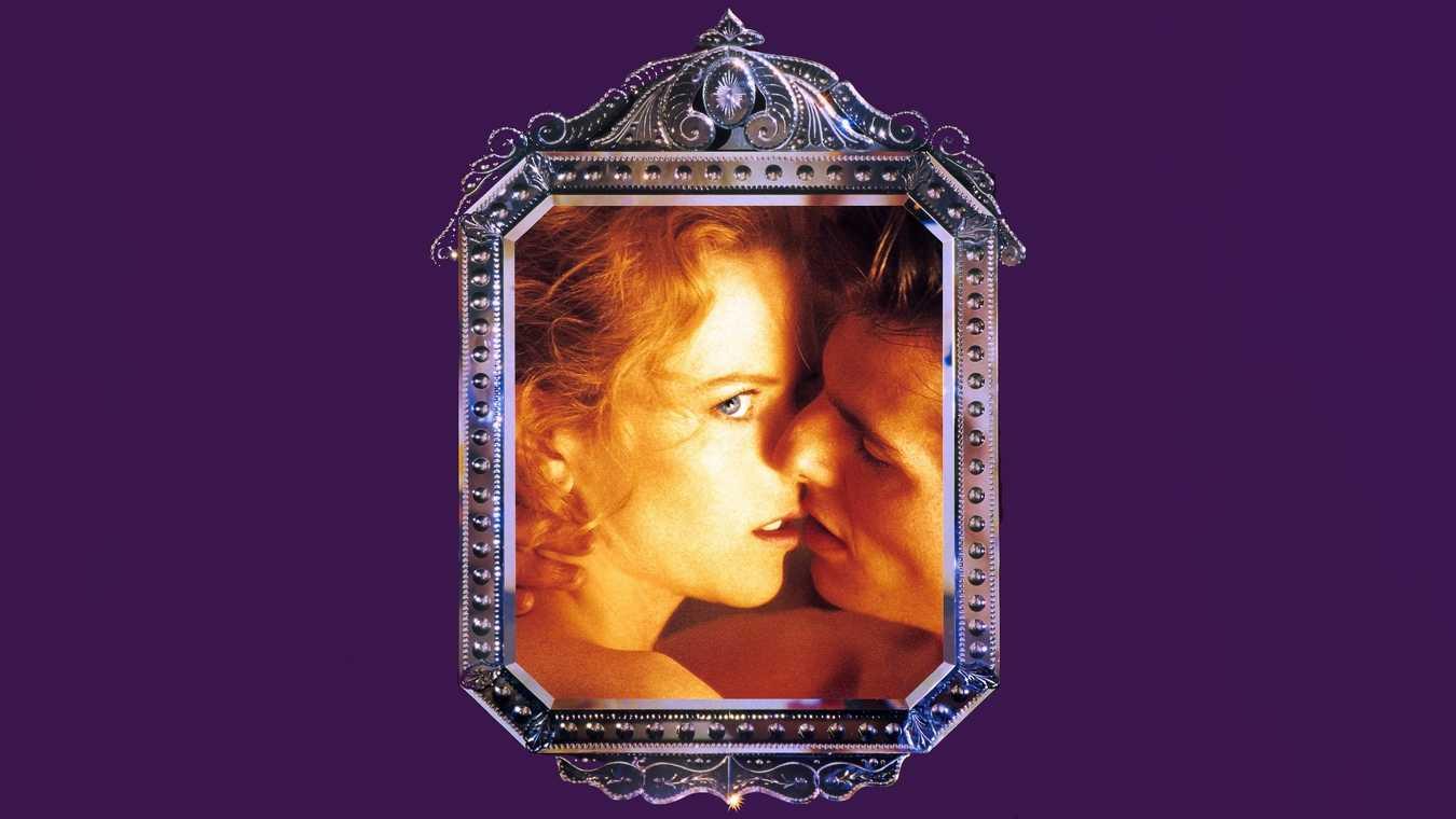 Nicole Kidman och Tom Cruise kysser varandra på en poster till Stanley Kubricks film Eyes Wide Shut.
