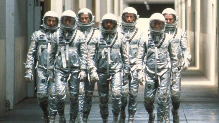 """""""De sju första astronauterna"""" i """"The Right Stuff""""."""