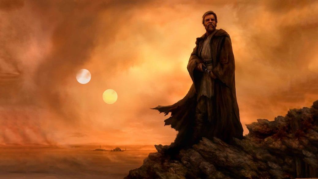 Teckning av Obi-Wan Kenobi på Tatooine