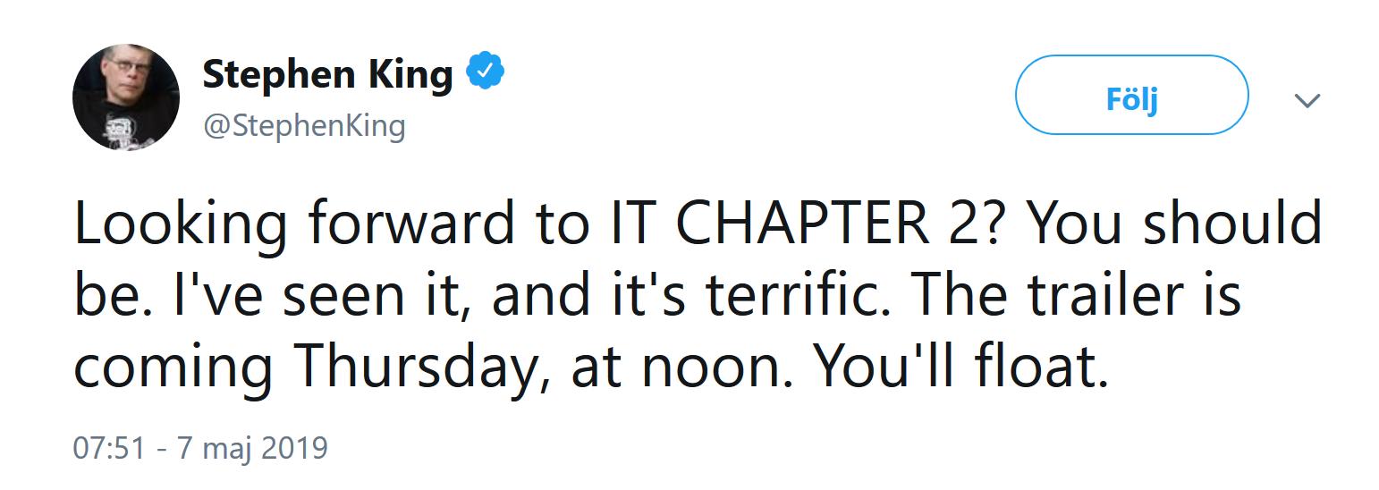 Tweet från Stephen King