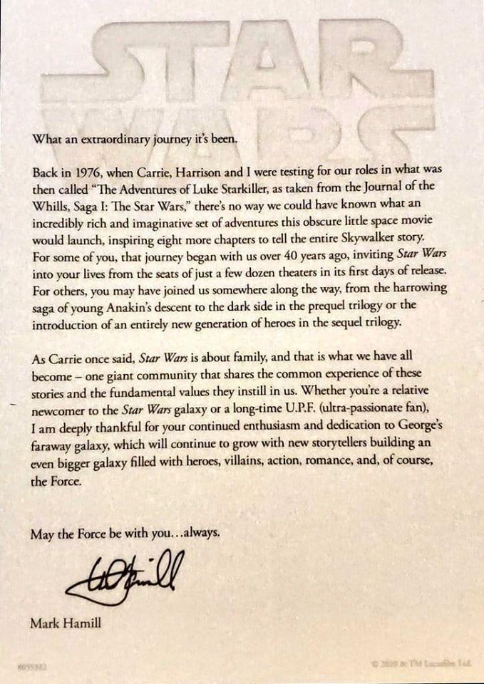Mark Hamills öppna brev till fansen.