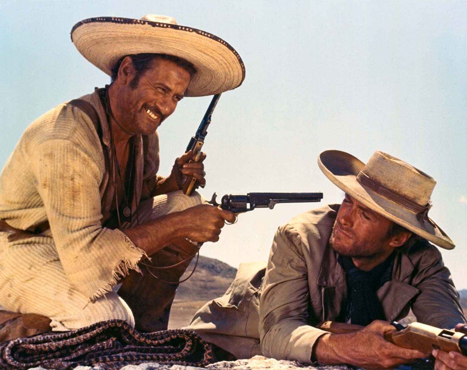 Mannen utan namn (Clint Eastwood) och hans kumpan/ärkefiende, Tuco (Eli Wallach) i Den gode, den onde, den fule. Foto: United Artists.