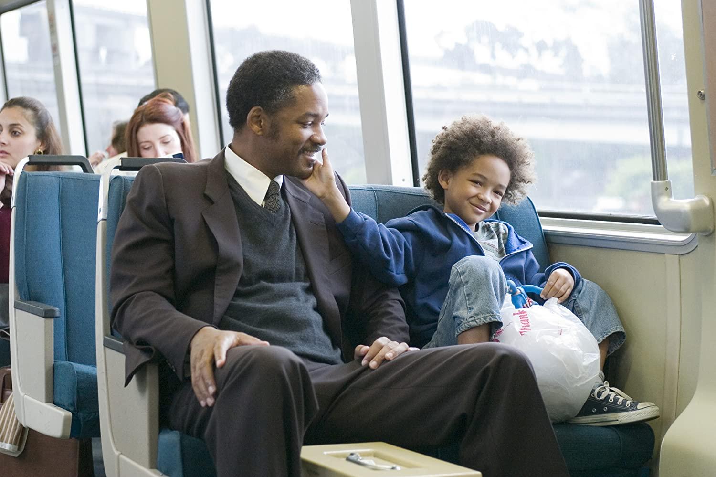 Will Smith med sonen Jaden Smith i filmen Jakten på lycka