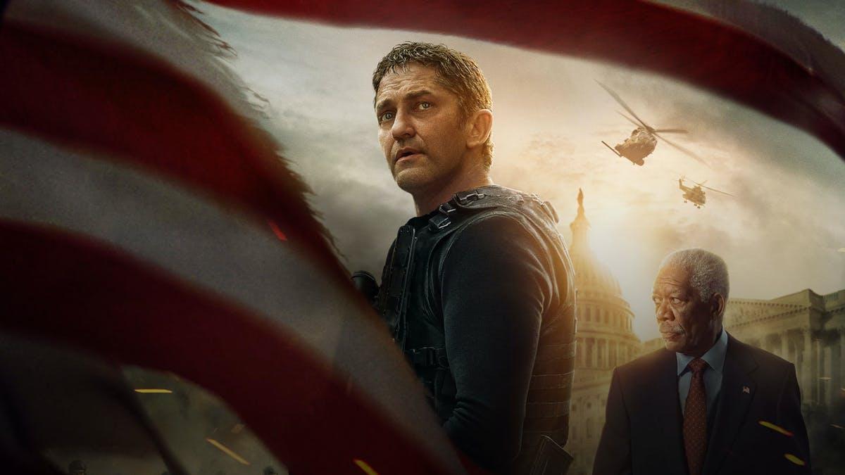 """Gerard Butler och Morgan Freeman på poster till """"Angel has Fallen""""."""