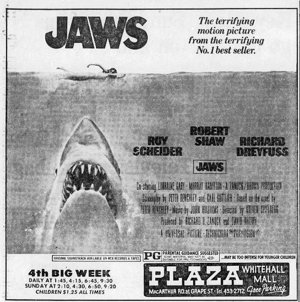 Urklipp från en tidning i Allentown i Philadelphia när Hajen rullade på biograferna sommaren 1975. Foto: Wikimedia Commons.